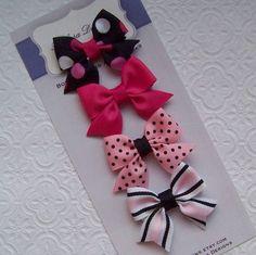 Boutique Pink and Black Petite Bow Set by Balasadesigns on Etsy Handmade Hair Bows, Diy Hair Bows, Making Hair Bows, Diy Bow, Diy Ribbon, Rainbow Loom Charms, Rainbow Loom Bracelets, Hair Ribbons, Ribbon Hair