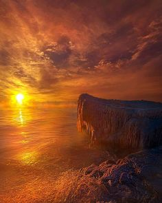 """2,097 Likes, 69 Comments - Phil Koch (@kochphil) on Instagram: """"Sunrise on the frozen shore of Lake Michigan in Wisconsin. Horizons by Phil Koch.…"""""""