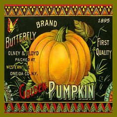 Olde America Antiques | Quilt Blocks | National Parks | Bozeman Montana : Vintage Canning Labels Hot Pads - Butterfly Brand Pumpkins