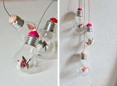 Lightbulb Origami Mobile Add some color to your room with a paper crane mobile. Could do flowers too Diy Origami, Mobil Origami, Hanging Origami, Origami Lights, Origami Cranes, Origami Birds, Origami Garland, Origami Butterfly, Diy Suspension