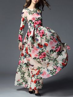 Apricot Tie-Waist Floral Maxi Dress -SheIn(abaday)