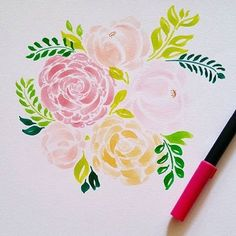Who needs watercolors when you can create something this stunning with markers?! Watercolor Sketchbook, Easy Watercolor, Watercolor Cards, Floral Watercolor, Watercolor Paintings, Tombow Pens, Tombow Usa, Brush Pen Art, Calligraphy For Beginners