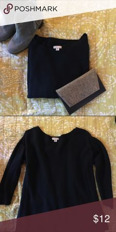 Black Sweater - 3/4 Length Sleeves The perfect, comfy sweater that you can wear to work or casuals with jeans. Ribbed texture to the fabric, and very soft. Excellent condition. Merona Sweaters Crew & Scoop Necks