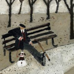 """Old Friends"" par Gary Bunt Art Themes, Dog Paintings, Naive Art, Art For Art Sake, Outsider Art, Losing A Pet, Dog Art, Mans Best Friend, Old Friends"