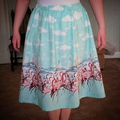 """""""@kymsrubyslippers finally shared a picture of her awesome Flamingo Skirt! Pattern is the @sewaholic Rae Skirt. More flamingo fabric coming soon so set up…"""""""