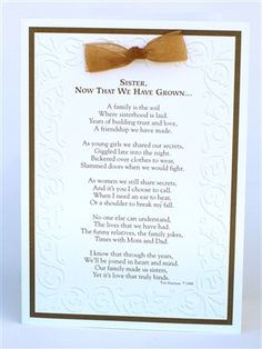 Special Wedding Gift Ideas For Brother : special card for your sister, a great wedding day gift for sister ...