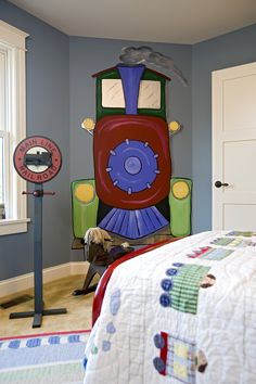 Adorable train themed bedroom in Plan 013S-0008 | House Plans and More