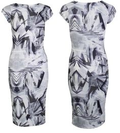 New Womens Ladies Sixties Siren Mono Chrome Geo Trian Pattern Printed Midi Dress
