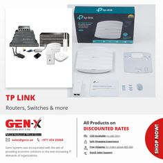 If you are suffering from a low-speed internet connection or signal drop?  No more signal drop, dead zones, or slow internet connection at your home and #business with TPLink smart network solutions. #GenxSystem brings an extensive range of #TPLink network solution which includes #switches, #routers, #accesspoint, and more. ===== #networks #Networking #networkswitch #networkswitches #switch #firewalls #switches #netgearswitch #networkengineers #ciscoswitch #ciscoswitches #ccna #ccnp #ccie Vpn Router, Wireless Router, Tp Link Router, Cisco Switch, Dual Band Router, Drive Bay