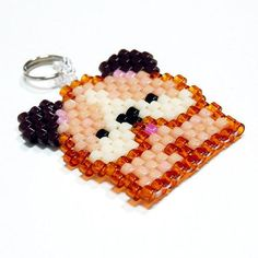 Brick-stitch kawaii charm pendant