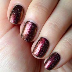 Essie Licorice + Ozotic 502 + China Glaze Fairy Dust