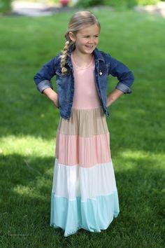 Ava Girls Long Modest Dress   Girls Maxi Dress Sizes 5-10