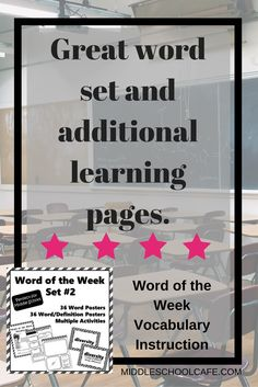 Boost student vocabulary with minimal prep work in this Word of the Week set! The best way to improve reading comprehension is by increasing student acquisition of vocabulary by exposing students to words they will see and use in everyday life. Middle School Writing, Middle School English, Middle School Teachers, Elementary Teacher, Creative Teaching, Teaching Ideas, Teaching Tools, Teaching Resources, School Resources