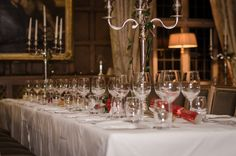 Fine dining at Waterford Castle throughout the year, events can be hosted through booking in advance Waterford Castle, Winter Season, Fine Dining, Winter Wonderland, Events, Candles, Island, Table Decorations, Canning