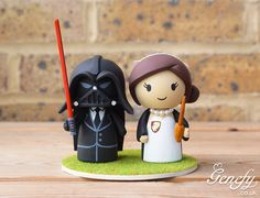 Darth Vader groom and Harry Potter bride wedding cake topper by Genefy Playground.  https://www.facebook.com/genefyplayground