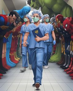 See more 'Superheroes Bowing in a Hospital Hallway' images on Know Your Meme! Superhero Doctor, Superhero Spiderman, Medical Quotes, Nurse Art, Doctors Day, Meaningful Pictures, Indian Photoshoot, Deep Art, Cartoon Images