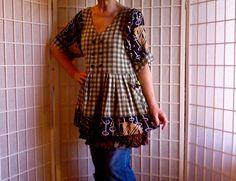 59  Medium Femine Mini Dress Jeans Topper Med UpCycled by ArtzWear
