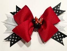 Items similar to Minnie Mouse Polka Dot Hair Bow on Etsy White Hair Bows, Ribbon Hair Bows, Diy Hair Bows, Bow Hair Clips, Christmas Hair Bows, Minnie Mouse Bow, Hair Bow Tutorial, Diy Headband, Headbands