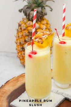 This pineapple rum slush is the perfect quick cocktail for a crowd, or for a nice refreshing drink after winding down from a hot summer day. Frozen Rum Drinks, Summer Rum Drinks, Pineapple Rum Drinks, Best Summer Cocktails, Summertime Drinks, Cocktail Drinks, Fun Drinks, Fruity Drinks, Refreshing Drinks