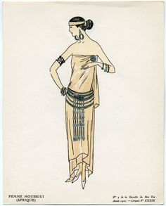 This ancient Egyptian themed fancy dress costume is a La Gazette du Bon Ton fashion plate from 1922, the year King Tut's tomb was discovered and set off a cultural frenzy for anything even vaguely Egyptian.