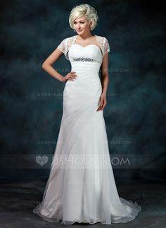 Corte A/Princesa Escote corazón Tren de la corte Organdí Vestido de novia con Volantes Bordado.