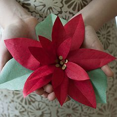Make this perfect poinsettia to decorate for the holidays or to top a holiday gift. Featured in Made in Paper magazine this poinsettia is easy to make with the step-by-step tutorial and petal template.