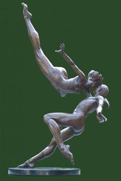 Bronze Wedding Anniversary Gift or Present Sculptures Statues statuettes sculpture by artist Andrew Benyei titled: 'The Kiss (bronze Frolicking Loving Couple Dance/Dancer sculpture)' Modern Sculpture, Abstract Sculpture, Metal Sculptures, Wood Sculpture, Art Plastique, Figure Drawing, Oeuvre D'art, Metal Art, Amazing Art
