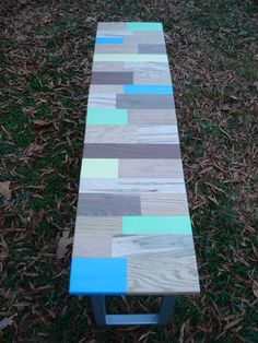 Reclaimed Wood Painted Bench.