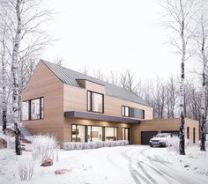 Winter retreat on Behance – Wohnen - architecture house Residential Architecture, Modern Architecture, Future House, Casa Loft, Design Exterior, Local Architects, Home Fashion, Modern Farmhouse, Modern Barn