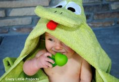 Frog Hooded Towel with links to Ladybug and Monkey.  Also, she has an owl and dragon...maybe more!
