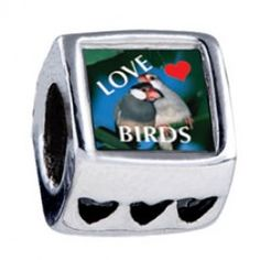 Love Birds Blue Photo Heart Charms  Fit pandora,trollbeads,chamilia,biagi,soufeel and any customized bracelet/necklaces. #Jewelry #Fashion #Silver# handcraft #DIY #Accessory
