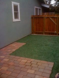 DOG RUN ideas ... grass and bricks  I like this idea for her ground cover.  Bricks near her dog house.