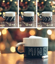 Draw, decorate and paint your own mug motifs with chalk or even with your own name thanks to Poetry Journey instructions to create your own in the blink of an eye.