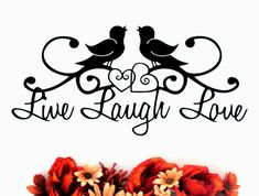 Live Laugh Love Bird Silhouette Metal Wall Sign w/ Two Hearts - Garden Metal Decor