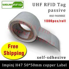 UHF RFID tag sticker Impinj H47 EPC6C printable copper label 915m868mhz  1000pcs free shipping adhesive passive RFID label #Affiliate