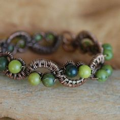 shades of green copper wire bracelet