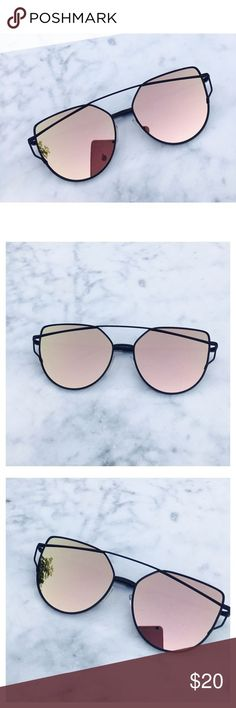 Rose Gold On Black Mirrored Sunglasses Restocked! Cat Eye…