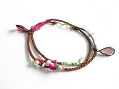 Bohemian double wrap woven friendship bracelets faux pearls gold wire fall winter free people inspired
