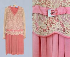 1920s Dress / 20s Silk and Lace Flapper Dress by GuermantesVintage