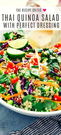 Thai Salad dressing for your fresh quinoa salad, a perfect refreshing recipe for lunch! Side Dish Recipes, Veggie Recipes, Lunch Recipes, Asian Recipes, Cooking Recipes, Dinner Recipes, Healthy Recipes, Veggie Food, Free Recipes