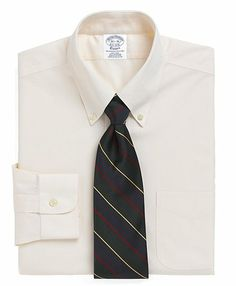 Brooks Brothers Non-Iron Slim Fit Button-Down Collar Dress Shirt - Ecru