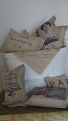 "PILLOWS :: DIY No Sew ""Burlap"" Pillows Tutorial :: Using coffee & tea stained Osenburg fabric (cheap but has the ""beauty & texture of linen""). Images were printed directly on the fabric...she shows you how & where she got her images from! 