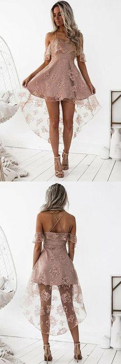 A-Line High Low Blush Sleeveless Lace Homecoming Dress #shortpromdresses #blackhighheelswithdressblackhighheelsclassic