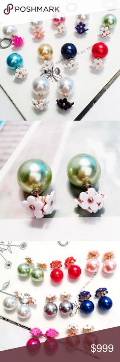 """PREVIEW!! Double Sided Pearl Daisy Flower Earrings COMING SOON!! """"LIKE"""" TO BE NOTIFIED!! Brand new in original packaging.  Trendy double sided daisy flower pearl ball stud earrings. Green colored round faux-pearl balls with white fun daisy flower detail! Lightweight, versatile wear statement earrings with push-backs. Nickel & lead compliant. Various colors to chose from! Available in tiffany blue, dusty rose/orange, white & pink/coral, light pink, & white/black (see pics)! All sales are…"""
