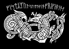 "Tattoo: Fenrir and runes from Norse poem about the doom of the gods: Festr.mun.slitna.en.freki.renna. ""The bond will break and the wolf run free""."