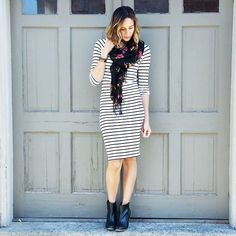 1 midi dress + 1 scarf + 1 pair of booties = 1 amazing outfit.   photo cred: @allthingsalij