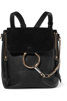 Chloé - Faye Small Leather And Suede Backpack - Black - one size