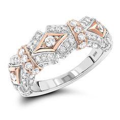 Womens 14K Two Tone Gold Vintage Diamond Ring 1 ct