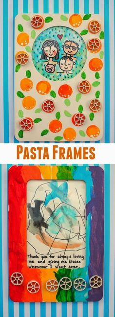 Make  pasta and painted picture frames- Super easy diy gift for kids to make with their parents!