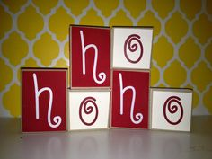 HoHoHo Mini Blocks- stackable, wood blocks, Christmas decor, shelf and mantle sitters - Edit Listing - Etsy Merry Christmas, Christmas Blocks, Christmas Wood Crafts, Christmas Signs, Christmas Projects, Holiday Crafts, Christmas Holidays, Christmas Decorations, Christmas Ornaments